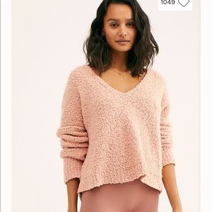 Free People Cotton Sweater - S Pink , Cotton